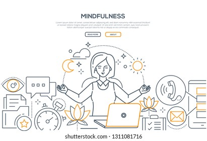 Mindfulness - modern line design style web banner on white background with copy space for text. A composition with a businesswoman meditating at work, sitting at the laptop, trying to release stress