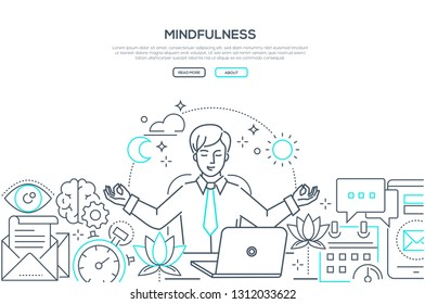 Mindfulness - modern line design style web banner on white background with copy space for text. A composition with a businessman meditating at work, sitting at the laptop, trying to release stress