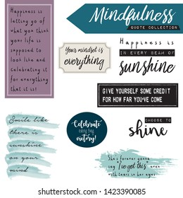 Mindfulness quote collection with labels, tags, poems in modern handlettering and label maker fonts.