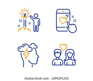 Mindfulness stress, Heart rating and Creative idea icons simple set. Couple love sign. Cloud storm, Phone feedback, Startup. People in love. People set. Linear mindfulness stress icon. Vector