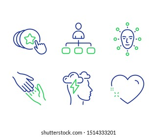 Mindfulness stress, Hold heart and Management line icons set. Helping hand, Face biometrics and Heart signs. Cloud storm, Love brand, Agent. Give gesture. People set. Vector