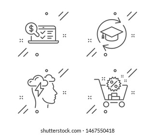 Mindfulness stress, Online accounting and Continuing education line icons set. Shopping cart sign. Cloud storm, Web audit, Online education. Discount. Business set. Vector