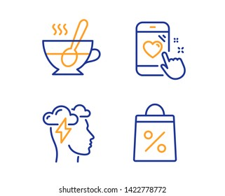 Mindfulness stress, Tea cup and Heart rating icons simple set. Shopping bag sign. Cloud storm, Coffee with spoon, Phone feedback. Supermarket discounts. Linear mindfulness stress icon. Vector