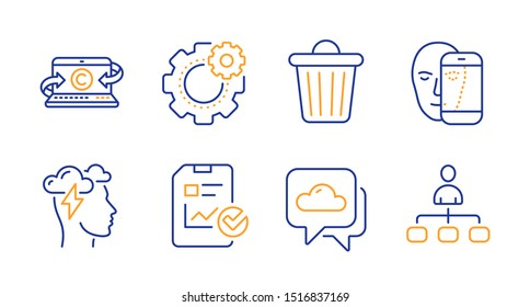 Mindfulness stress, Weather forecast and Trash bin line icons set. Cogwheel, Face biometrics and Copywriting notebook signs. Report checklist, Management symbols. Cloud storm, Cloudy. Vector