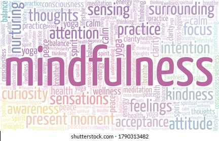 Mindfulness word cloud isolated on a white background