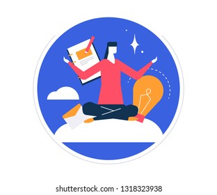Mindfulness at work - colorful flat design style illustration on white background in a round frame. Bright unusual composition with a businesswoman, female manager meditating, trying to release stress