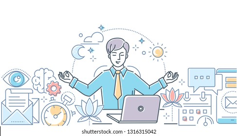 Mindfulness at work - modern line design style illustration on white background. Colorful composition with a businessman meditating in the office, sitting at the laptop, trying to release stress
