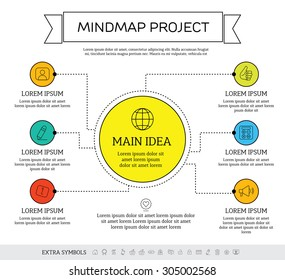 Mindmap, scheme infographic design concept with circles and icons.