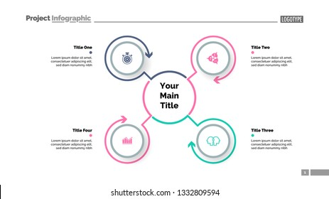 Mindmap template with four elements. Business data. Process, cycle, design. Creative concept for infographic, report. Can be used for topics like workflow, marketing, strategy