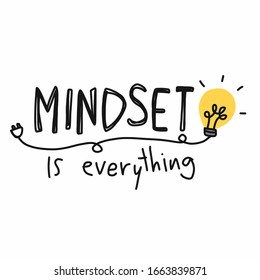 Mindset is everything word and lightbulb vector illustration