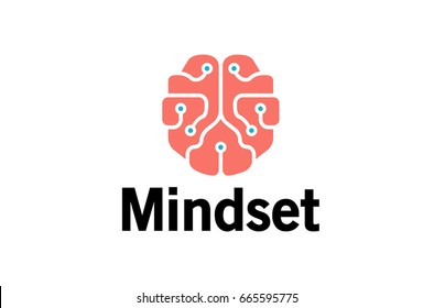 Mindset Pinky Brain Technology Wires Symbol Logo Design Illustration