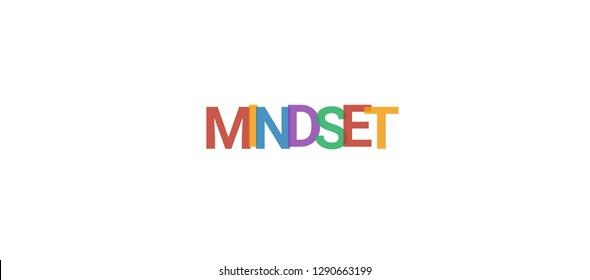 "Mindset word concept. Colorful ""Mindset"" on white background. Use for cover, banner, blog."