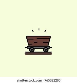 Mine cart outline flat colorful concept illustration