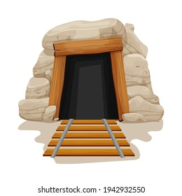 Mine cave entrance with railway in cartoon style isolated on white background. Rock, stone shaft with wooden planks. Textured, abandoned tunnel.