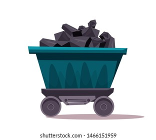 Mine coal trolley flat vector illustration. Wagon transporting pile coal. Mining industry equipment. Underground minerals extraction. Construction and building transportation vehicle