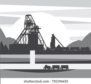 Mine for ore extraction, vector illustration
