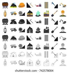 Mine set icons in cartoon style. Big collection of mine vector symbol stock illustration