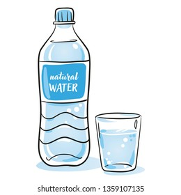 Minearl water in plastic bottle and glass icon. Concept for healthy nutrition and drinking enough mineral water. Hand drawn cartoon sketch vector illustration, simple plain coloring