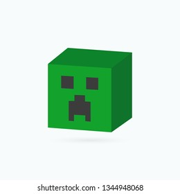 Minecraft icon. Creeper head. Vector illustration. EPS 10.
