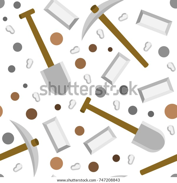 Minecraft Iron Tools Pattern Stock Vector Royalty Free