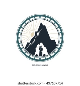 Miner against Mountains,Emblem of the Mining Industry, Label and Badge Mine Shaft,  Vector Illustration