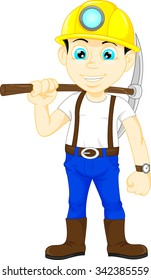 miner boy hold the pick axe