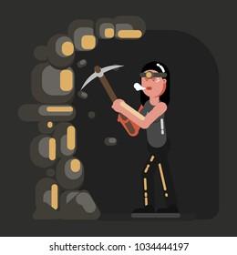 Miner girl in work
