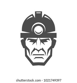 Miner in a helmet logo. Collier icon