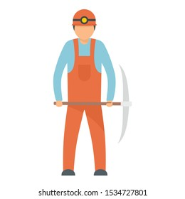Miner icon. Flat illustration of miner vector icon for web design