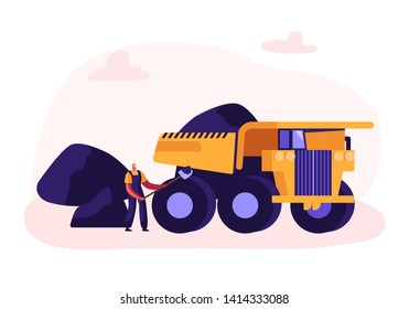 Miner Loading Coal with Shovel into Truck. Quarry Transport and Technique, Extraction Industry. Coal Mining Infographics, Working Equipment, Transportation, Technics. Cartoon Flat Vector Illustration