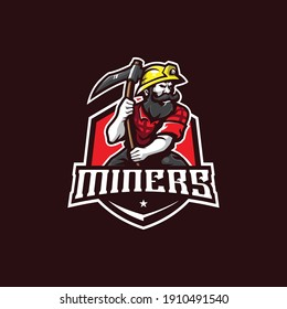 miner mascot logo design vector with modern illustration concept style for badge, emblem and t shirt printing. angry miner illustration.