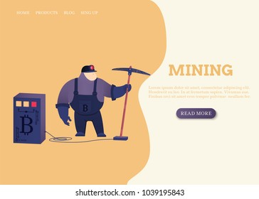 Miner with a pickaxe for mining of bitcoins. Vector illustration