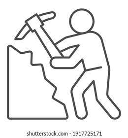 Miner with pickaxe thin line icon, labour day concept, Pile of coal and man with pickaxe sign on white background, Miner icon in outline style for mobile concept and web design. Vector graphics.