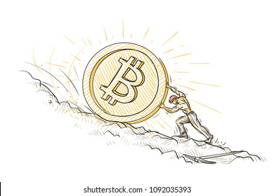 Miner pushing big bitcoin coin trying to hold it from falling down conceptual sketch. Vector.