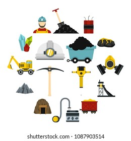 Miner set icons in flat style isolated on white background