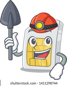 Miner simcard isolated with in the cartoon
