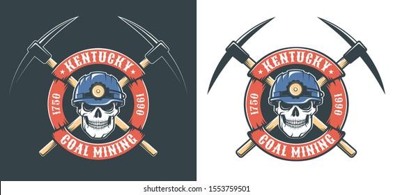 Miner skull in hardhat and crossed picks - retro mining logo. Vintage vector illustration.