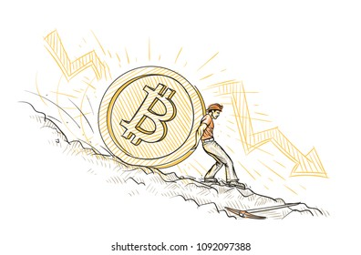 Miner trying to hold big bitcoin coin from falling down conceptual sketch. Vector.