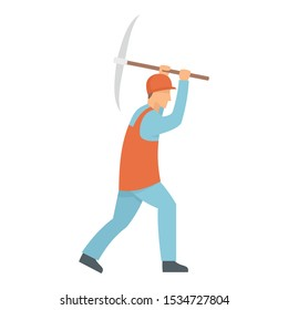 Miner working icon. Flat illustration of miner working vector icon for web design