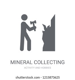 Mineral collecting icon. Trendy Mineral collecting logo concept on white background from Activity and Hobbies collection. Suitable for use on web apps, mobile apps and print media.