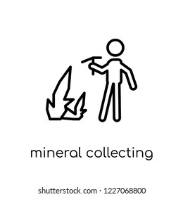 Mineral collecting icon. Trendy modern flat linear vector Mineral collecting icon on white background from thin line Activity and Hobbies collection, editable outline stroke vector illustration