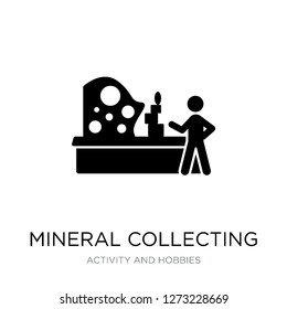 mineral collecting icon vector on white background, mineral collecting trendy filled icons from Activity and hobbies collection, mineral collecting simple element illustration
