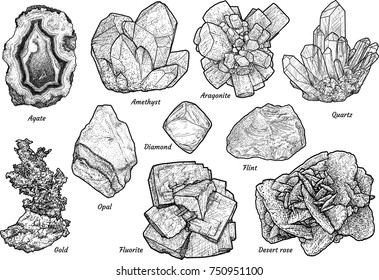 Mineral collection illustration, drawing, engraving, ink, line art, vector