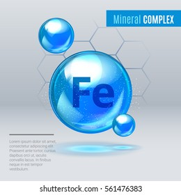 Mineral Fe Ferum blue shining pill capcule icon . Mineral Vitamin complex with Chemical formula . Shining cyan substance drop. Meds for heath ads. Vector illustration