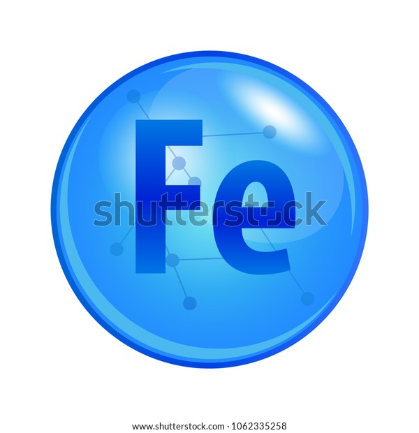 Mineral Ferrum capsule. Vector icon for health. Blue shining vitamin pill.