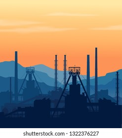 Mineral fertilizers plant over blue great mountain range at sunset. Detail vector illustration of large chemical manufacturing plant.