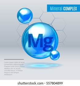 Mineral Mg Magnesium blue shining pill capcule icon . Mineral Vitamin complex with Chemical formula . Shining cyan substance drop. Meds for heath ads. Vector illustration