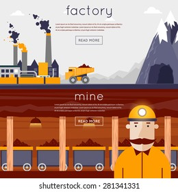 Mineral mining, black mining, coal industry. Miner in a mine produces breed. The truck carries the rock from the mine to the plant. Flat design vector illustration. 2 banners.