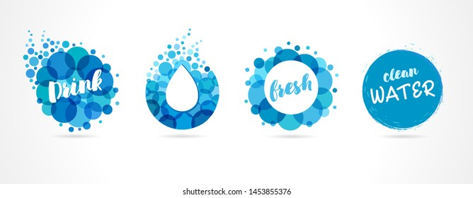 Mineral natural water icons design. Vector set of abstract aqua blue symbols, clean drops and bubble wave logo template. Concept set abstract drink or spa logos