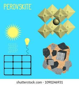 Mineral Perovskite. Mineral drawing, chemical formula, solar battery. Sun light bulb